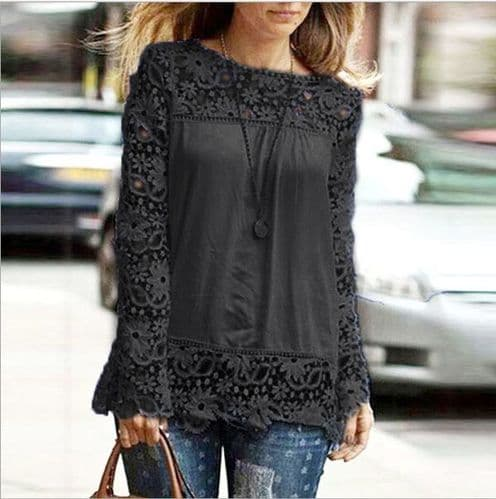 New Ladies Embroidery Lace Chiffon Long Sleeve Top Shirt Blouse Black