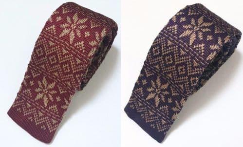NEW Men's Fashion Christmas Snowflake Knit Knitted Tie Slim Woven UK
