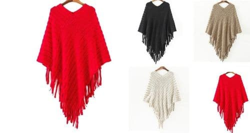 New Women Ladies Knitted Warm Cape Poncho Pullover Shawl Gift