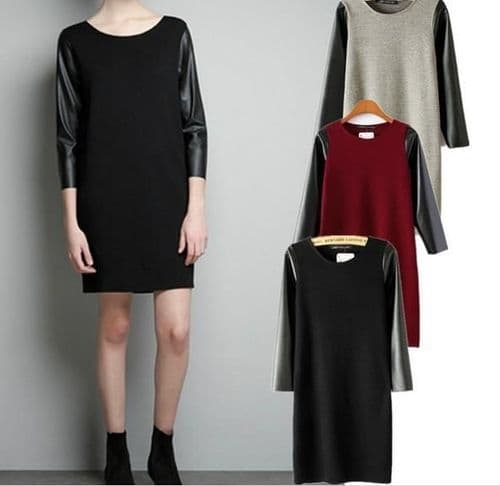 New Women Ladies PU Faux Leather Sleeves Knitted Jumper Mini Dress