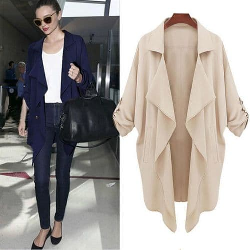 New Women Open Front Trench Cardigan Jacket Overcoat