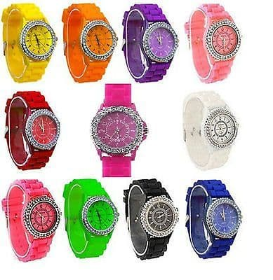 NEW WOMENS LADIES CRYSTAL RUBBER JELLY SILICONE BRACELET WRIST WATCH Xmas Gift