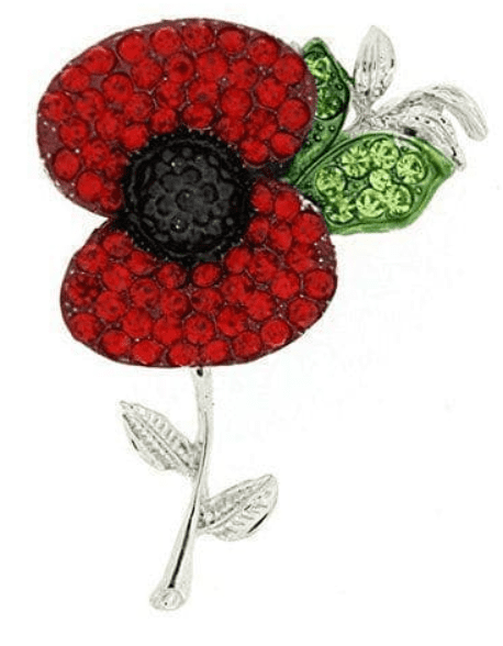 Poppy Flower Brooch Lapel Pin Crystal Red Flower Badge  remembrance day