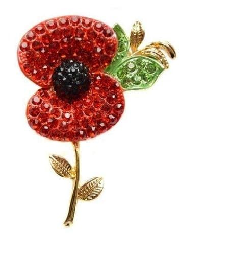 Poppy Flower Brooch Lapel Pin Fashion Crystal Red Flower Badge Pin Broach