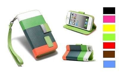 PU LEATHER CASE COVER PROTECTOR FOR APPLE IPHONE 5 WALLET STRAP Gift