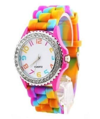 Rainbow Rubber Jelly Silicone Crystal Wrist Watch Men Women Gift