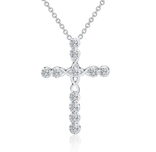 Rosary Jesus Crystal Cross Pendant Necklace 925 Sterling Silver Chain