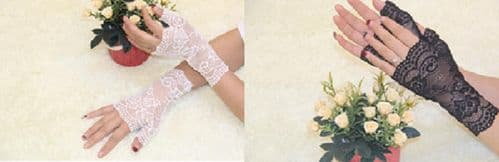 SEXY LADY FLORAL LACE GLOVES MITTENS GOTH PARTY FINGERLESS