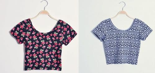 Summer Girls Cute Floral Rose Print Cotton Crop Top S/M/L