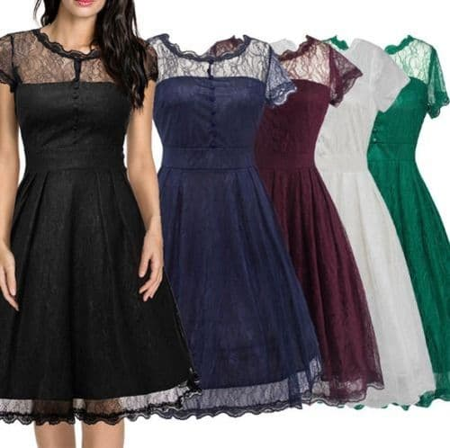 Women 1950s Vintage Style Retro Evening Party Swing Full Lace A-Line Dress