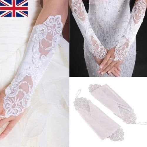 Women Fingerless Lace Short Gloves For Bridal Wedding Party pearl UK