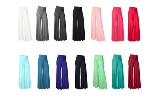 Women Ladies Palazzo Wide Leg Trousers Flared Trouser Loose Pants