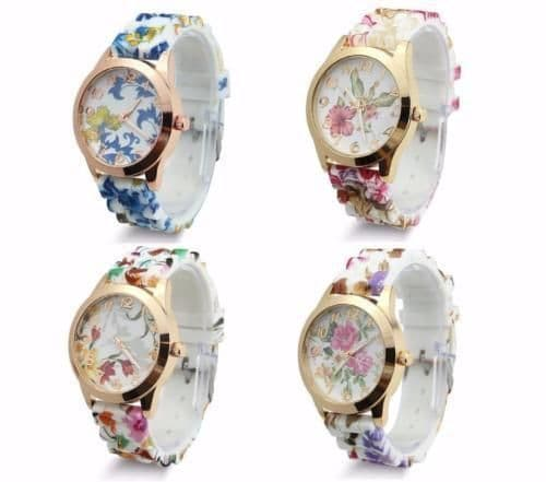 Women Lady Dress Watch Silicone Printed Flower Causal Quartz Wristwatches Gift