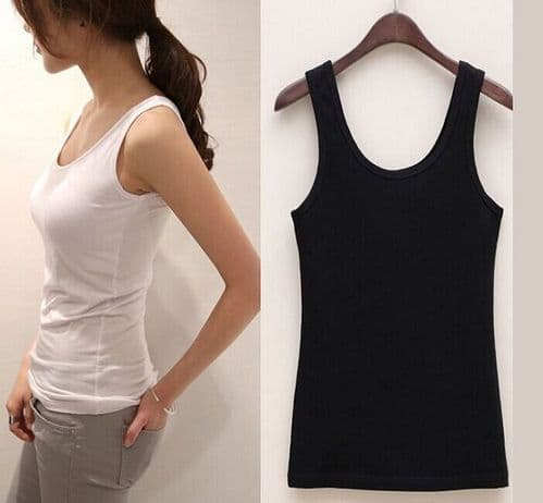 WOMEN PLAIN SLEEVELESS VEST SLIM FIT T-SHIRT BASIC COTTON TANK TOPS