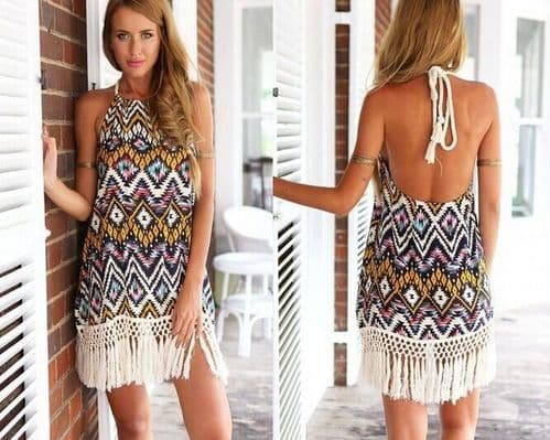 Women Summer Ethnic Style Fashion Printed Halter Neck Backless Tassels Dress