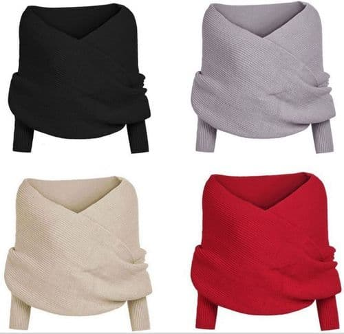 Women V Neck Wrap Top Chunky Cable Knitted Jumper Crop Sweater Shawl Scarf