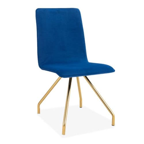 2x Blue Cindy Upholstered Spider Leg style Dining Chair in Blue