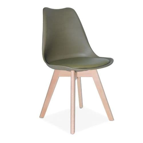 4x Tulip Pyramid Dining Chairs With Beech Legs, Olive Green
