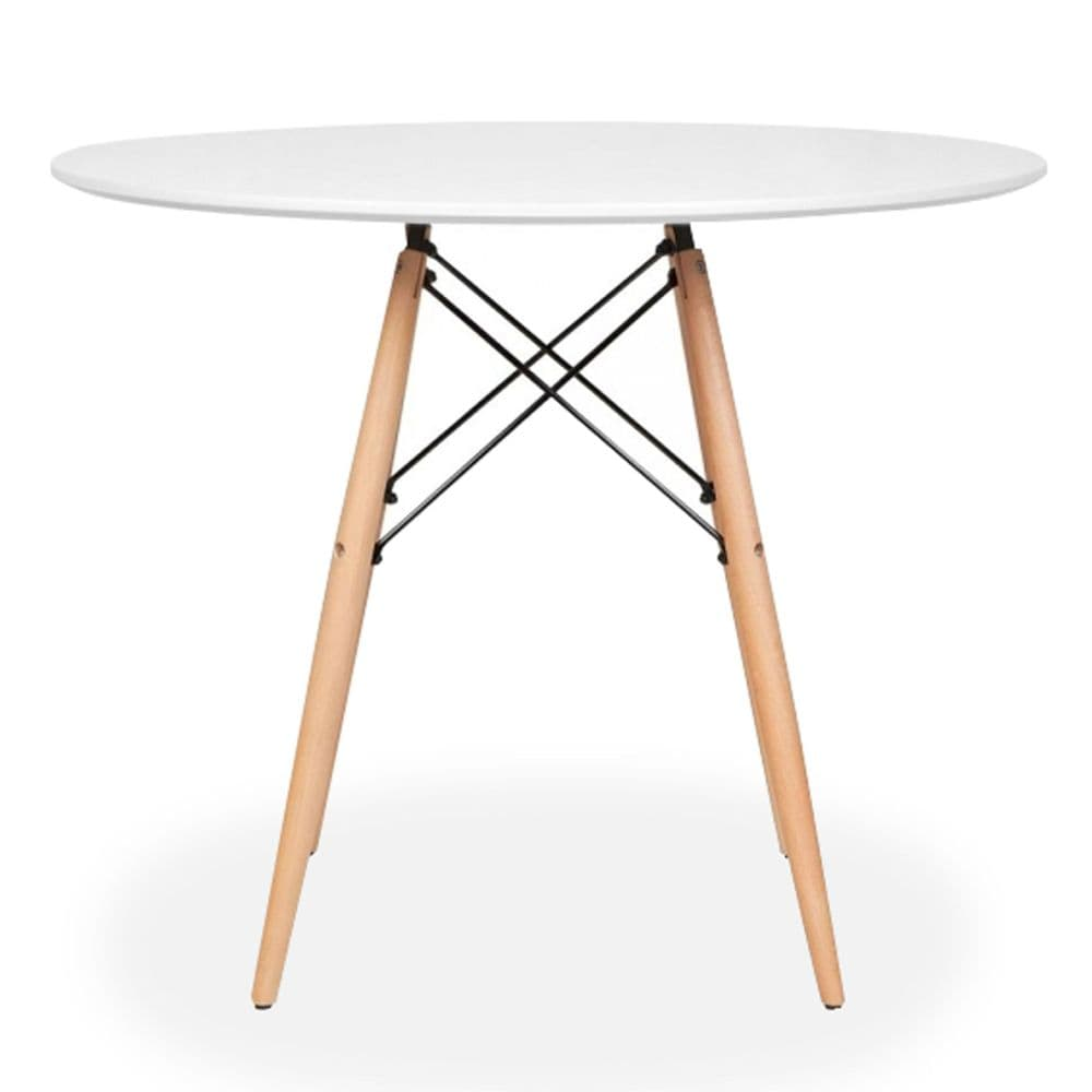 Eiffle Round Dining Table in White -  4 seater  - 80cm