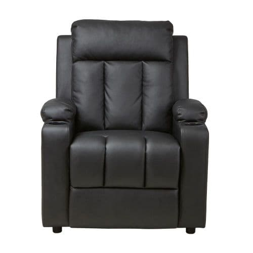 LEIF Black PU Leather Recliner Push Back Armchair