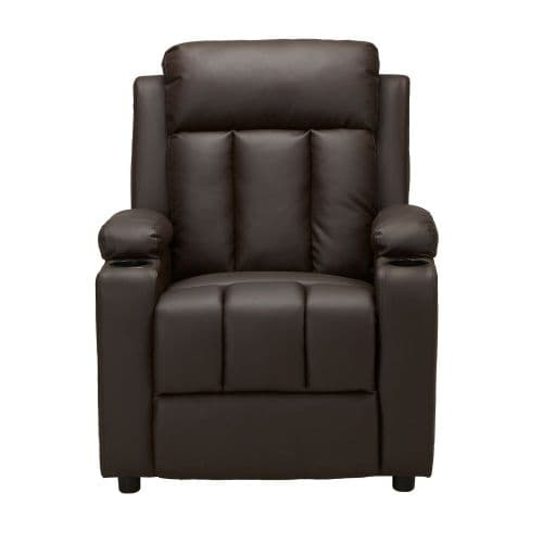 LEIF Brown PU Leather Recliner Push Back Armchair
