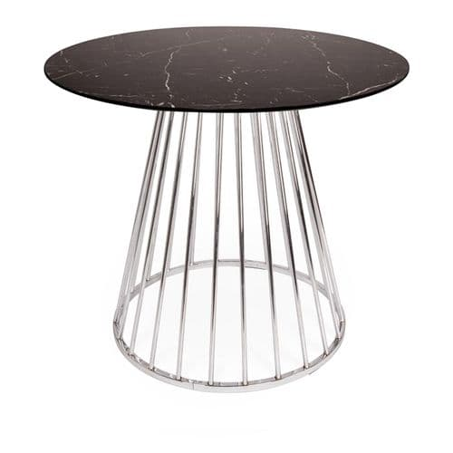 Mmilo Black Liverpool Marble Effect MDF  Table with Silver Chrome Legs 100cm