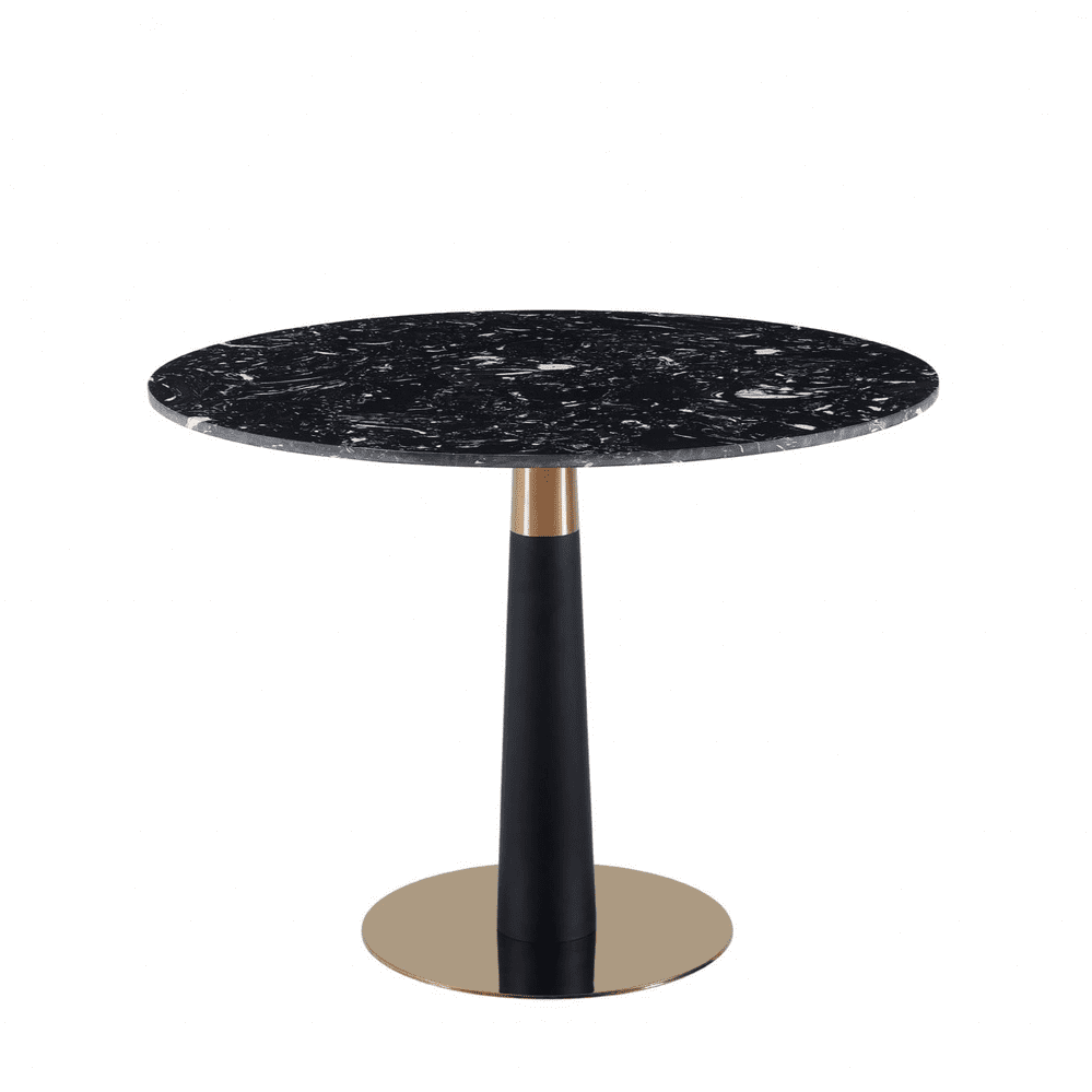 Mmilo New Black Luxury black round Dining table Gold & Black leg-100cm