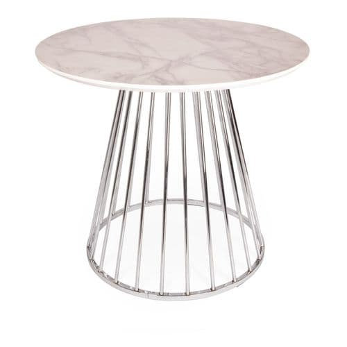 Mmilo White Liverpool Marble Effect MDF Table with Silver Chrome Legs 80cm