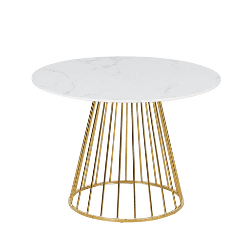 New Mmilo White Liverpool Style Marble Table with Golden Chrome Legs 100cm