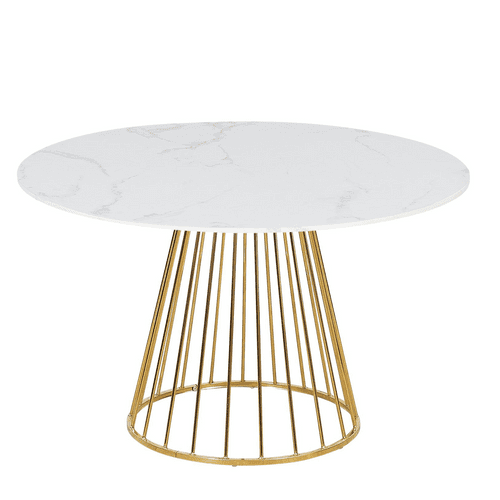 New Mmilo White Liverpool Style Marble Table with Golden Chrome Legs- 120cm