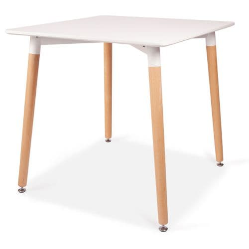 Square Dining 4 seater Table in White  with Wooden Legs - 80cm