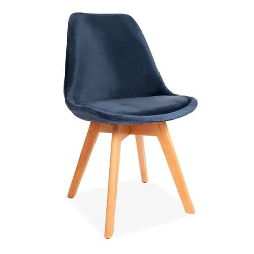 x1 Blue Tulip Velvet dining chairs, with Beech Legs