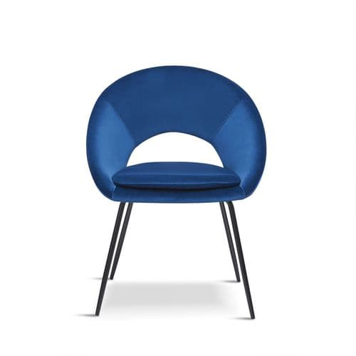 x2 Blue Open Back Dining Chair With black legs