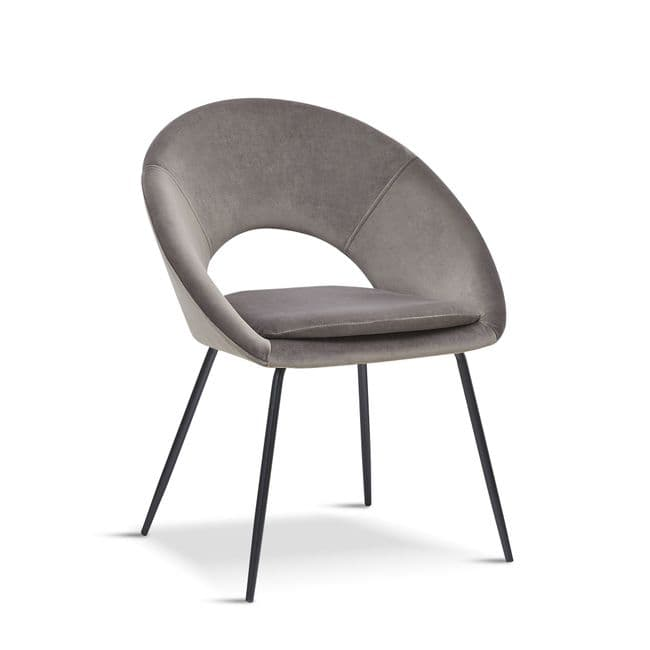 x2 Grey Open Back Dining Chair With in Grey with Black Legs