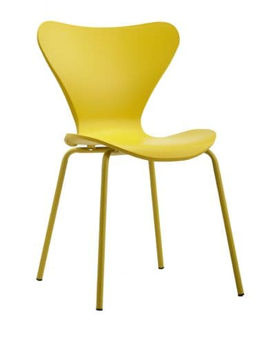 x2 Modern Stackable Dining Chair Yellow