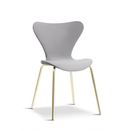 x2 Modern Velvet Grey Stackable Dining Chair with gold legs