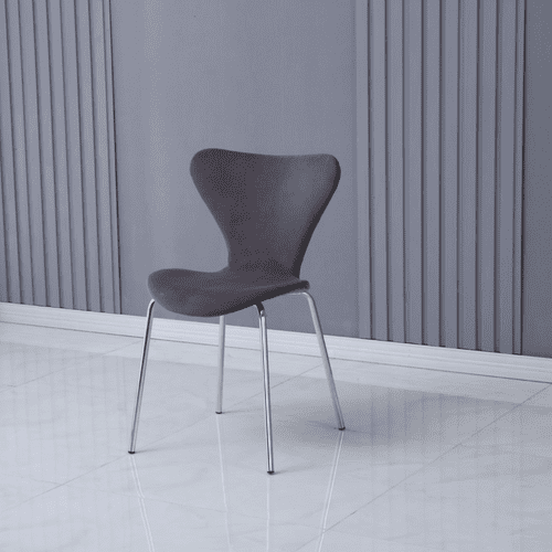 x2 Modern Velvet Grey Stackable Dining Chair with Sliver legs
