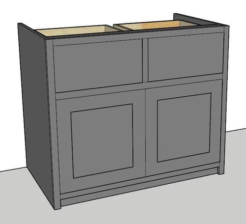 Country Style Painted 2 Door and 2 Drawer Kitchen Cabinet 1000mm