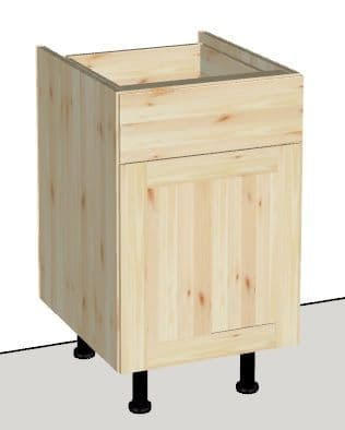 Pine 1 Door & 1 Drawer Kitchen Cabinet 500mm wide