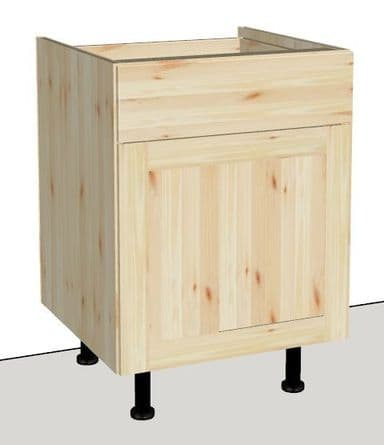 Pine 1 Door & 1 Drawer Kitchen Cabinet 600mm wide