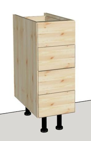 Pine 4 Drawer Kitchen Cabinet 300mm wide