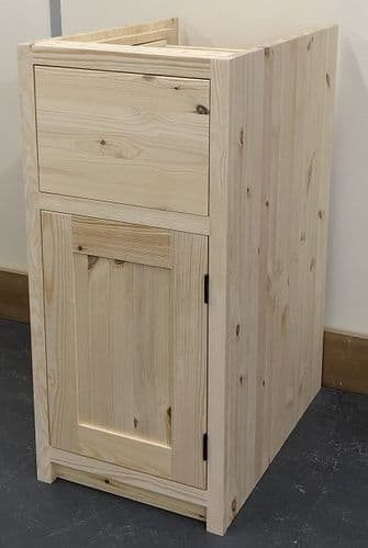 Pine Traditional Style 1 Door & 1 Drawer Kitchen Base Unit 300mm wide