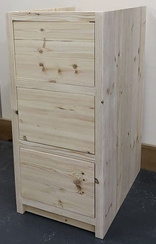 Pine Traditional Style 3 Drawer Kitchen Base Unit 300mm wide