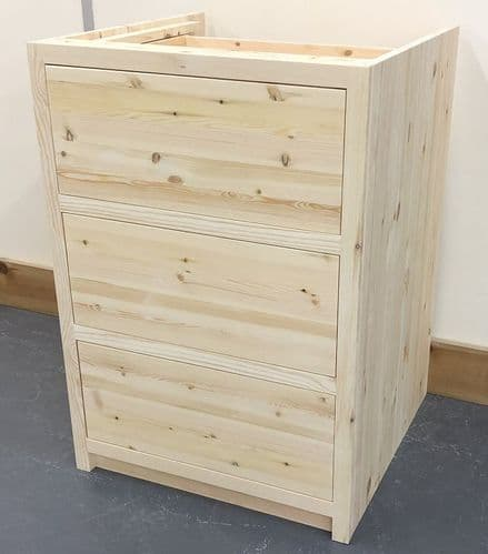 Pine Traditional Style 3 Drawer Kitchen Base Unit 600mm wide