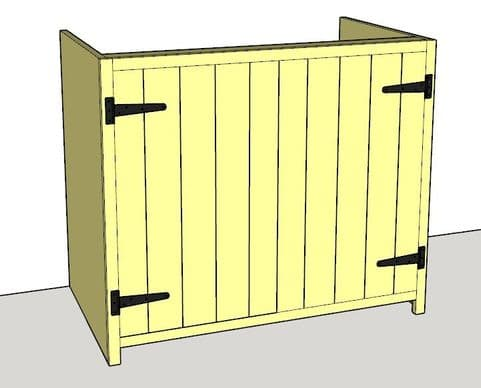 Rustic Farmhouse 1000mm Base Cabinet with 2 doors