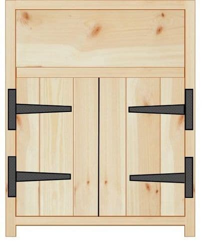 Rustic Farmhouse 600mm Base Cabinet with 2 doors and drawer