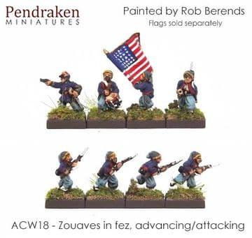 <n>ACW18 </n>Zouaves in fez, advancing/attacking inc. command