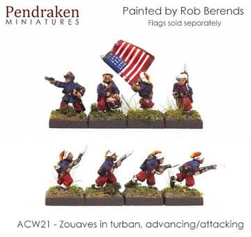<n>ACW21 </n>Zouaves in turban, advancing/attacking inc. command
