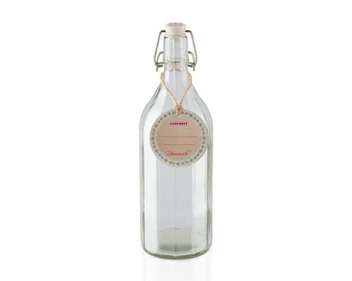 LEIFHEIT  Faceted Glass Bottle With Clip Top Fastening Seal 1000ml