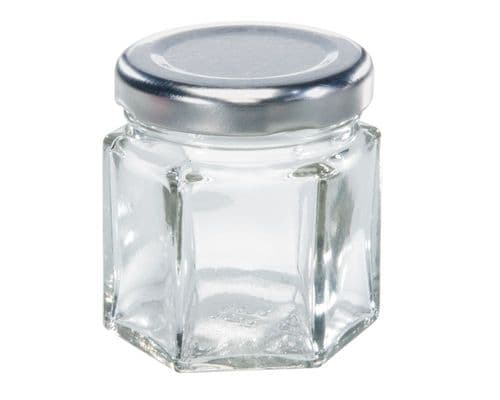 LEIFHEIT Preserving and Storage Hexagonal Glass Jar With Screw Top Lid 47ml